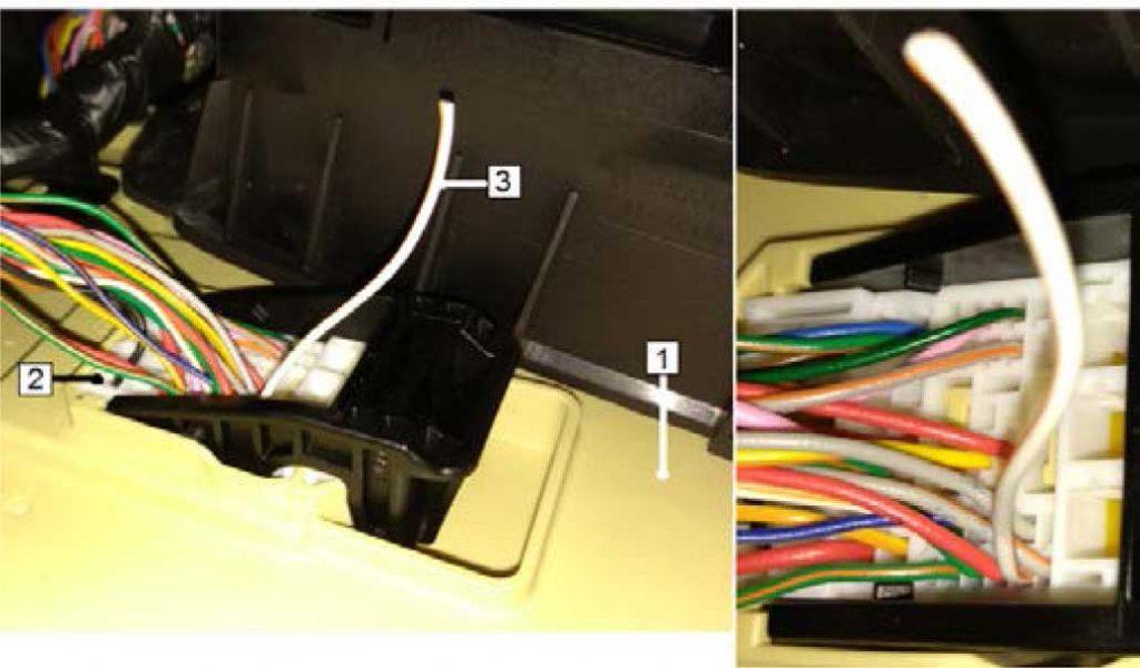 Разрезать бело-оранжевый (ws/or) провод на достаточном для подключения расстоянии. Часть провода от разъема ICU-G заизолировать. Вторую часть бело-оранжевого провода соединить с зеленым (gn) проводом  от предохранителя F5. 1 – Салонный блок предохранителей (задняя сторона) 2 – Разъем ICU-G белого цвета 3 – Часть бело-оранжевого провода от разъема ICU-G (pin 2)