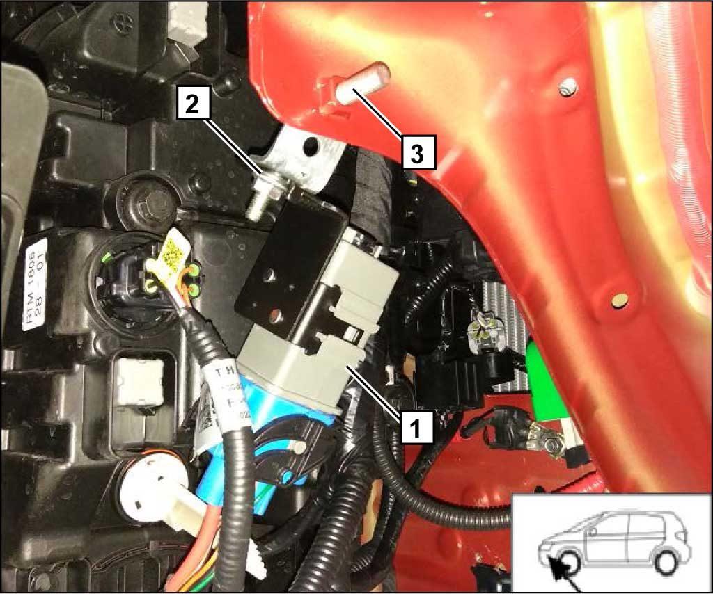 Необходимо переместить реле с кронштейном 1, закрепив на угловом кронштейне с помощью болта М6х20, гайки и шайбы 2. Сборку закрепить на новом месте на кузове болтом М8х20.
