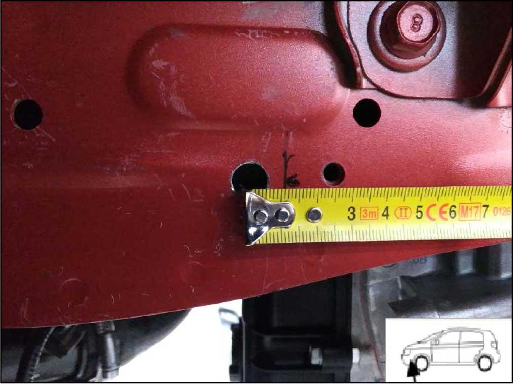 Разметить и просверлить отверстие Ø 9,5 мм в соответствии с рисунком.