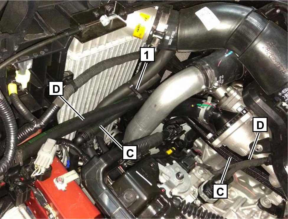 Проложить шланги C и D в моторном отсеке в соответствии с рисунком, огибая конструктивные элементы. Стянуть шланги пластиковым хомутом 1, исключив взаимное перемещение.