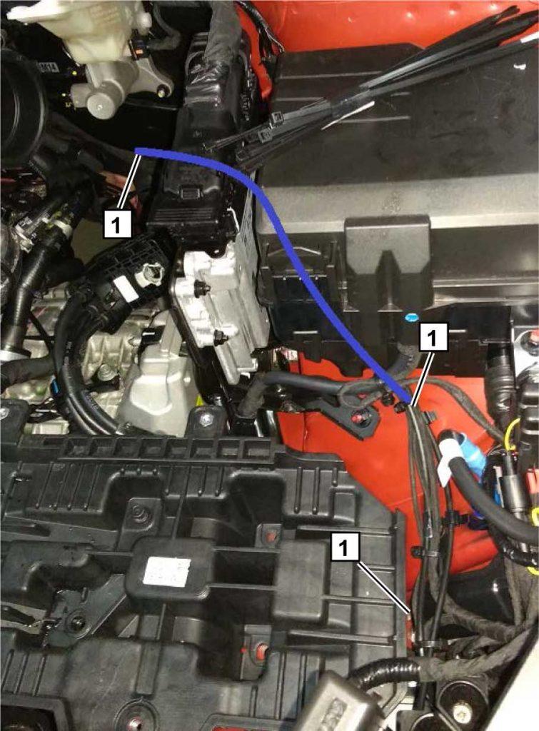 Проложить топливопровод и жгут насоса-дозатора 1 в моторном отсеке, согласно рисунка. Избегать контакта топливопровода с острыми кромками деталей а/м.