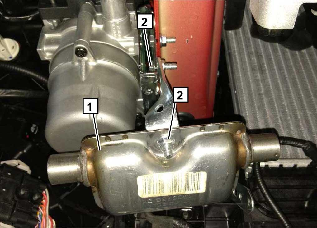 Закрепить глушитель 1 с помощью ранее подготовленного кронштейна на кронштейне подогревателя, используя болты М6х20 2.